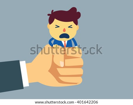Employer try to out from big hand of businessman. This illustration about Oppression of worker - stock vector