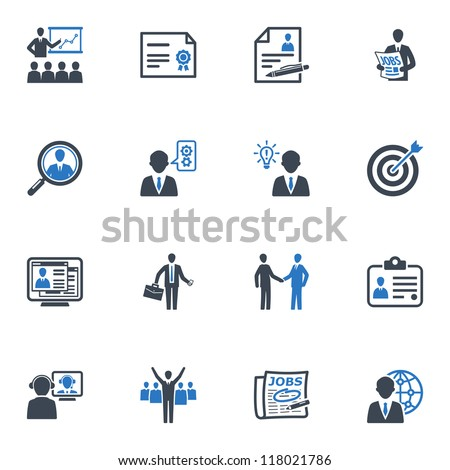 Employment and Business Icons - Blue Series - stock vector