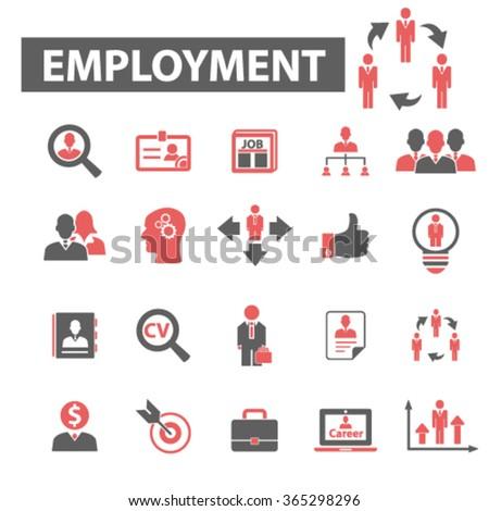 employment, career, human resources, job, cv icons set  - stock vector