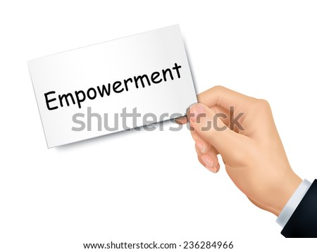 empowerment card in hand isolated over white background - stock vector