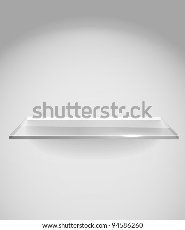 Empty advertising glass shelf withh a spot lignt - stock vector