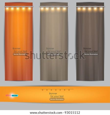 Empty banner for product advertising with lighting - stock vector