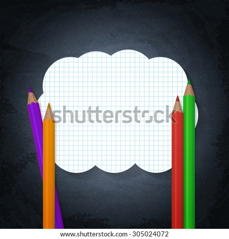 Empty banner on lined notebook paper and pencils on chalkboard background - stock vector