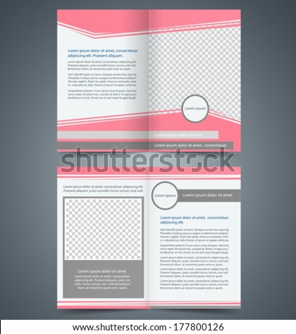 Empty bi-fold brochure template design with pink color, layout store flyer, Poster Magazine cover, booklet - stock vector