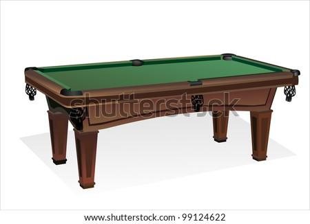 Empty billiard table isolated on white - stock vector