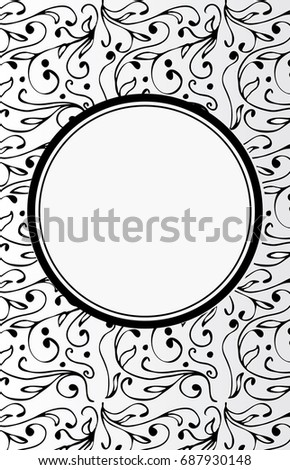 Empty Black And White Hand Drawn Blank Vintage Frame Ethnic Floral Vector Background