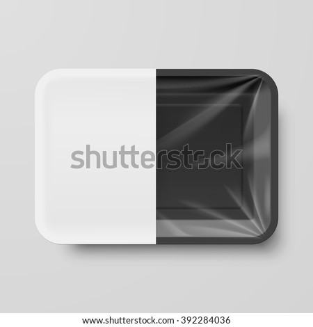 Empty Black Plastic Food Container with White label on Gray Background