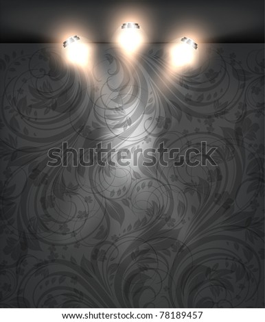 Empty black storefront with black seamless floral background. You can change colors for the background, eps10 vector - stock vector