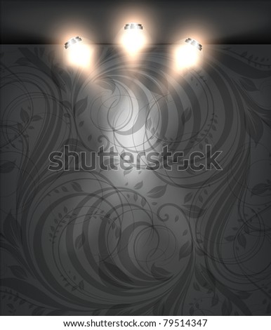 Empty black storefront with black seamless floral flower background. You can change colors for the background, eps10 vector - stock vector