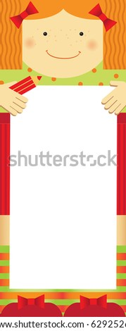 Empty blank. Family theme, girl. Any text of your choice. - stock vector