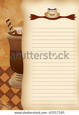 Empty blank of menu. Coffee theme. Ready for the text of your choice. - stock vector