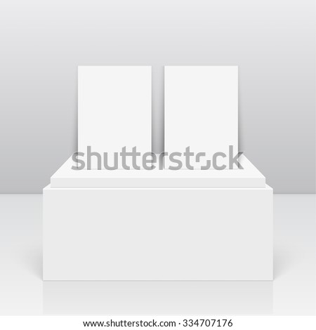 Empty blank on podium. Vector pedestal. Magazine, book, brochure, flyer, a4 letterhead, folder, leaflet, booklet. - stock vector
