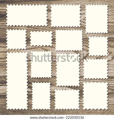 empty blank postage stamps different size in white color isolated on a rustic wooden texture background with shadows. vector illustration. - stock vector
