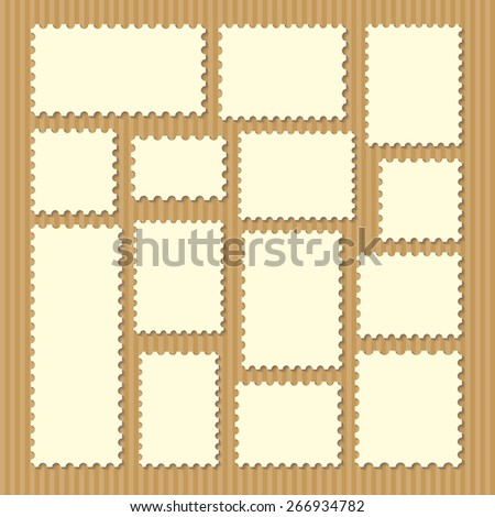 empty blank postage stamps different size in white color isolated on beige striped background with shadows. vector illustration  - stock vector
