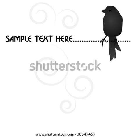 empty blank with black bird - stock vector