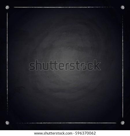 Empty Border On Blackboard Chalkboard Background Vector Illustration