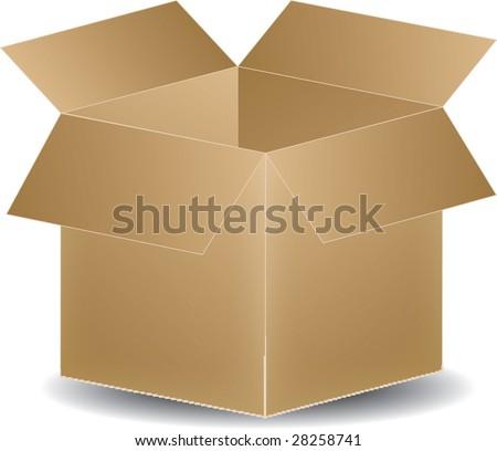 empty cardboard box - stock vector