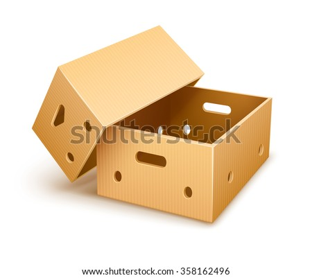 Empty cardboard box tare for fruits transportation and keeping. vector illustration. Isolated on white background. Transparent objects used for lights and shadows drawing. - stock vector