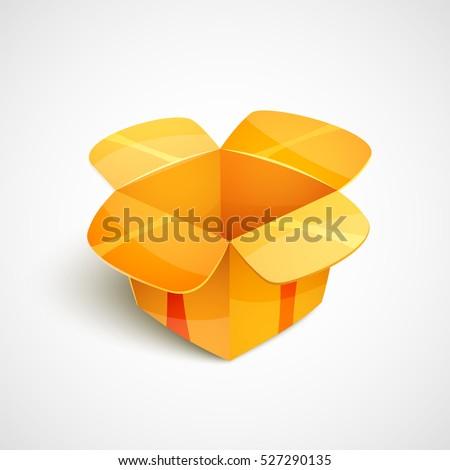 Empty Cardboard Packaging Open Orange Box Stock Vector (2018 ...