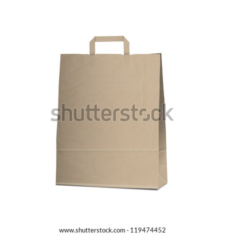 Empty Carrier brown bag on white. Vector eps10