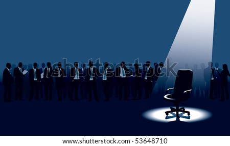 Empty chair and crowd of people with aspirations. - stock vector