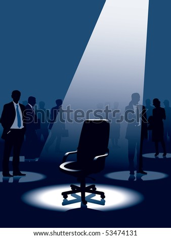 Empty chair and group of people with aspirations. - stock vector