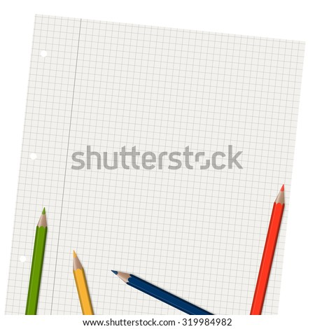 empty checkered paper with different colored pencils - stock vector