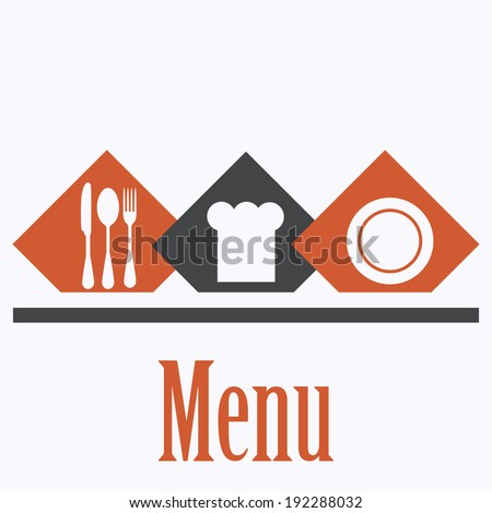 Empty chef hat, dinner plate, drawing the knife and fork set - stock vector