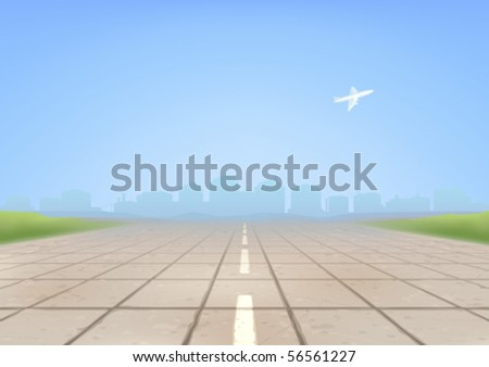 Empty concrete airport runway in the foreground and an airplane taking off in the background (AI-optimized EPS 8 file, other landscapes are in my gallery) - stock vector