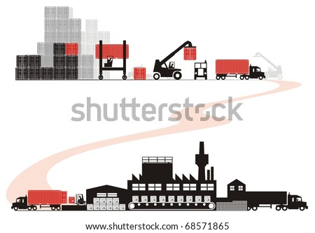 Empty container loading - Supply chain vector illustration set (Part One - from empty container selection to empty container arrival to shipper) - stock vector