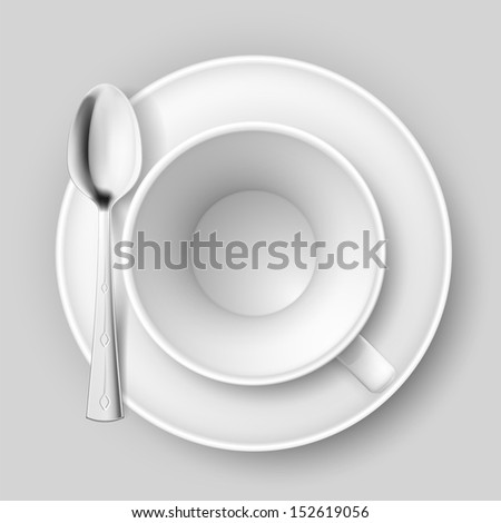 Empty cup with spoon on saucer. Illustration on white background. - stock vector