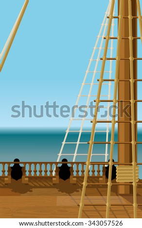 Empty deck of an old ship in the open sea armed cannons - stock vector