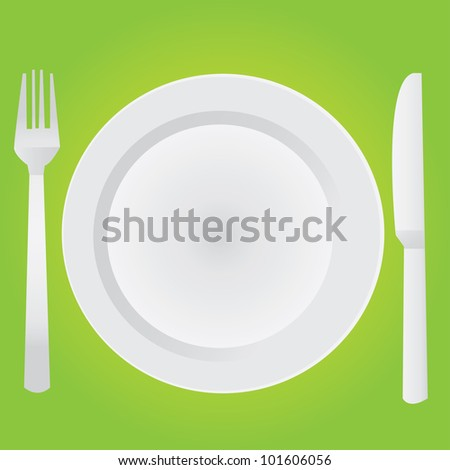 Empty dinner plate, drawing the knife and fork set - stock vector