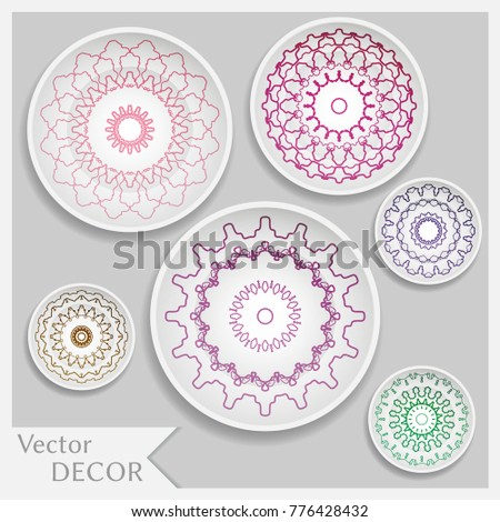 Empty dish porcelain plate mock up design isolated objects. Set of six decorative  sc 1 st  Shutterstock & Empty Dish Porcelain Plate Mock Design Stock Vector 776428432 ...