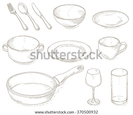 Empty dishes set. Kitchen utensil sketch. Dinnerware: plates, bowl, cup, spoon, fork, knife, glass, wineglass, pan. Kitchenware and cutlery hand dawn illustration. Restaurant tools doodles collection