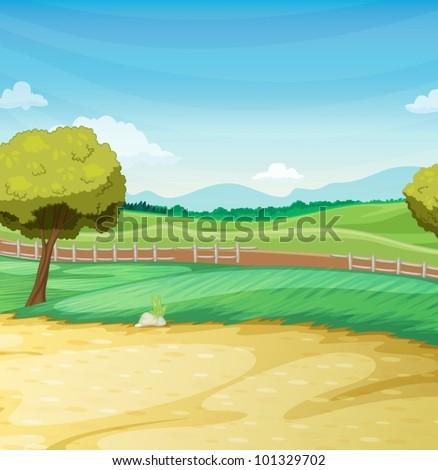 Empty farm scene landscape illustration - stock vector