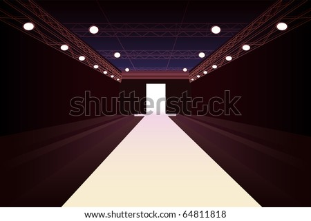 empty fashion model podium with lights vector - stock vector