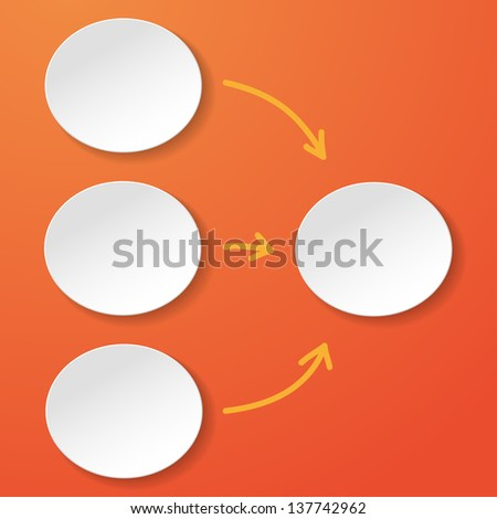 Empty flowchart with oval papercircles on the orange background. - stock vector