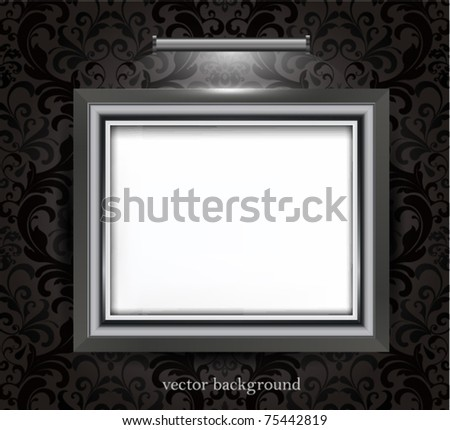 Empty Frame On Black Decorated Wall Stock Vector 75442819 - Shutterstock