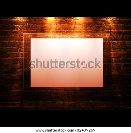 empty frame on brick - wall - stock vector
