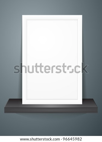 empty frame on dark shelf - stock vector