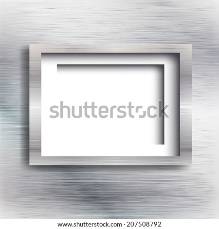 Empty frame on the metal background. Vector illustration.