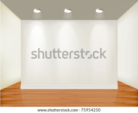Empty frame on wall with spot lights and wood background. Vector illustration. - stock vector