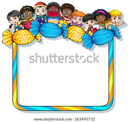 Empty frame with candies and kids on a white background - stock vector