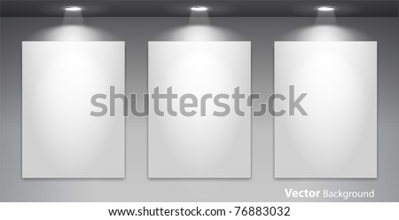 Empty gallery wall with lights for images and advertisement. Fully editable eps10 - stock vector