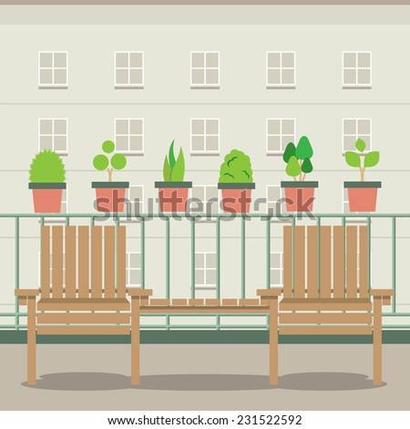 Empty Garden Chairs At Balcony Vector Illustration - stock vector