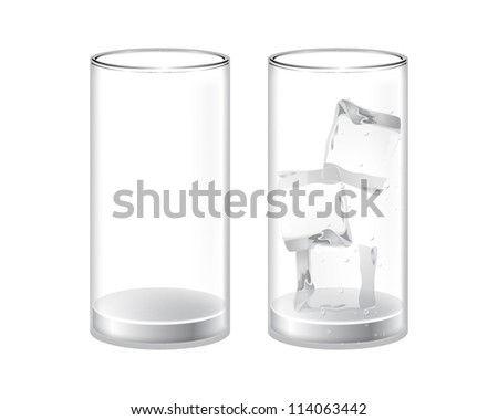 empty glass and a glass with ice - stock vector