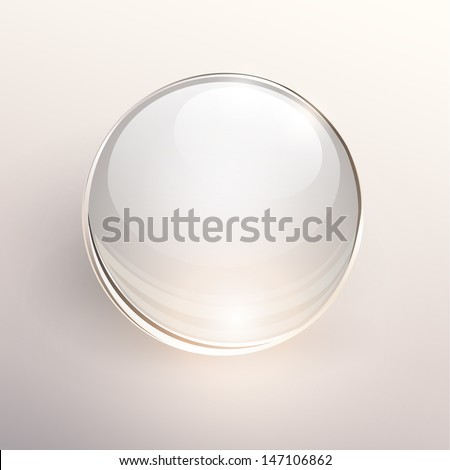 Empty glass ball on light background, vector. - stock vector