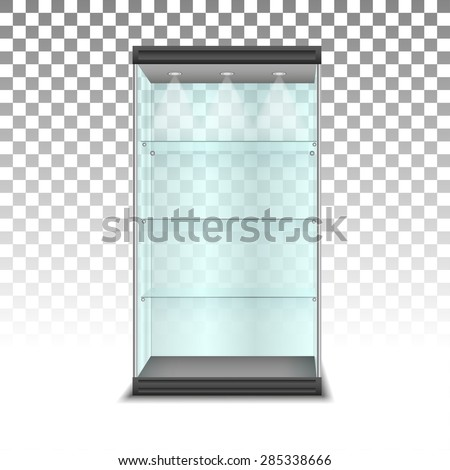 Empty glass cabinet with shelves, vector - stock vector