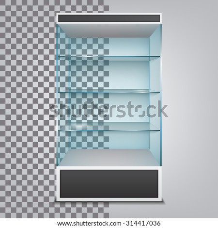 Empty glass cabinet with shelves. Vector Illustration - stock vector